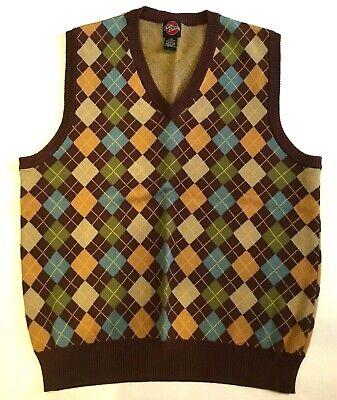 Nick Danger Diamond Pattern Sweater Vest Men's Large 100% Cotton