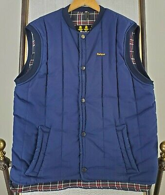 BARBOUR England Mens Large Navy Snap Front Quilted Plaid Poly Filled Gilet Vest