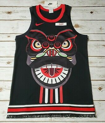 NIKE x CLOT Men Chinese Lion Dance Jersey Blk Red CK0094 010 - Med New Nike Stretch Jersey