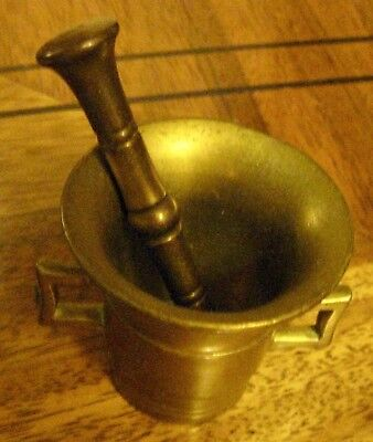 Vintage Brass Pestle & Mortar Apothecary Spice Herb/Pill Crusher~Nice Condition