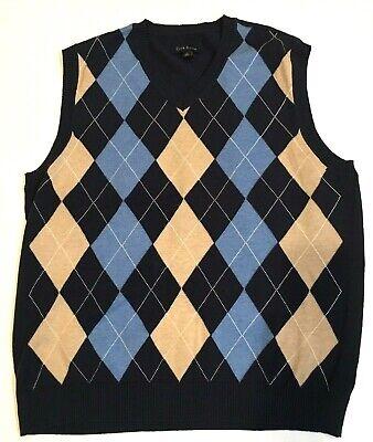 Club Room Argyle Sweater Vest Men's Large 100% Cotton