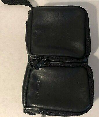 VTG Case Logic 48 CD DVD Holder Case Wallet Zip Up Black Faux Leather Bag Blu  Black Leather Cd Wallet Case