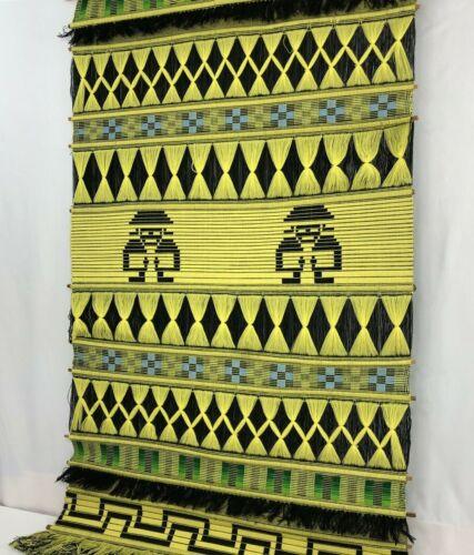 "Vintage Mid Century Wall Hanging Fiber Art Textile HUGE 31 x 52"" Bright Yellow"
