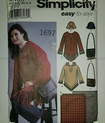 Poncho Top Bag Hat XS S M Simplicity 5465 Sewing Pattern UC FF Denim Leather + Denim Purse Patterns