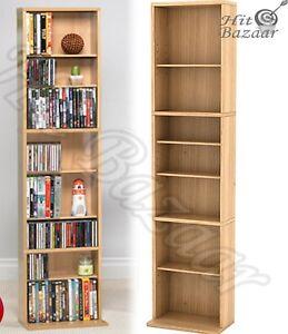 MEDIA STORAGE RACK CD DVD Multimedia Organizer Tower Shelf Stand Cabinet Shelves