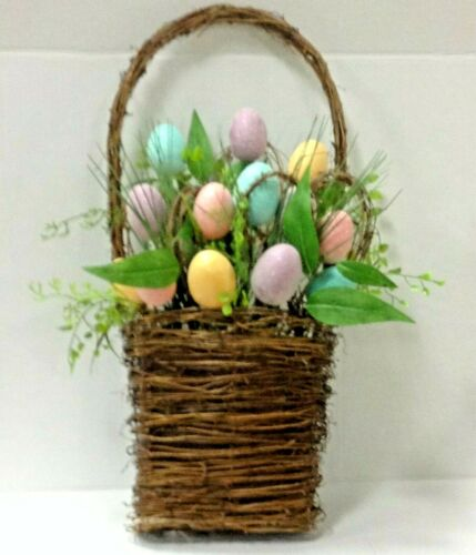 Easter Door Hanger Decoration Basket with Colorful Eggs Greenery Wall Decor