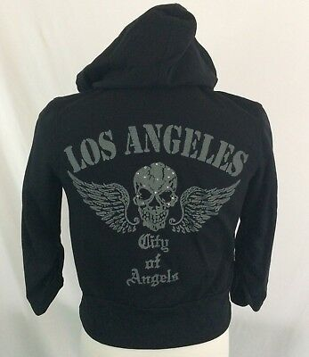 Halloween City Los Angeles (Los Angeles City Of Angels Skull Hoodie Jacket Small Halloween Black Goth)