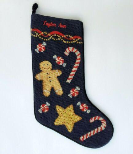 LANDS END Vintage Needlepoint Christmas Stocking Gingerbread Taylor Ann Monogram