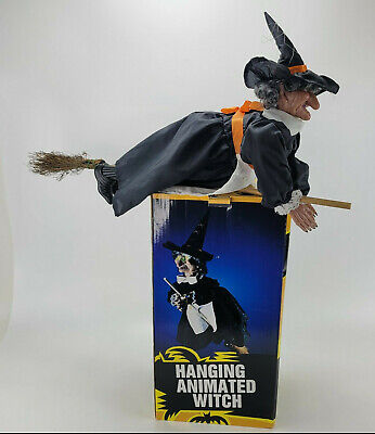 Vintage Hanging Animated Witch Light Up Eyes & Ghostly Sounds W/ Original Box