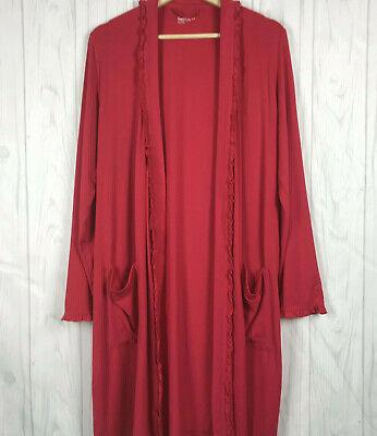 Gap Body Robe Size Small Women Pink Long Sleeve Open Front Ruffle Trim - Gap Womens Robe