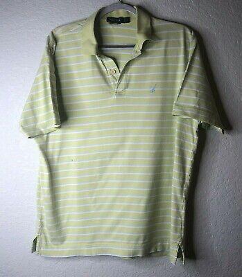 Mens NAUTICA Green Striped Short Sleeve Polo Shirt Size M Medium EUC