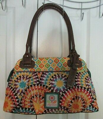 Lily Zip (LILY BLOOM Geometric Sunburst Zip Top Rolled Handle Purse Satchel Bag Handbag)