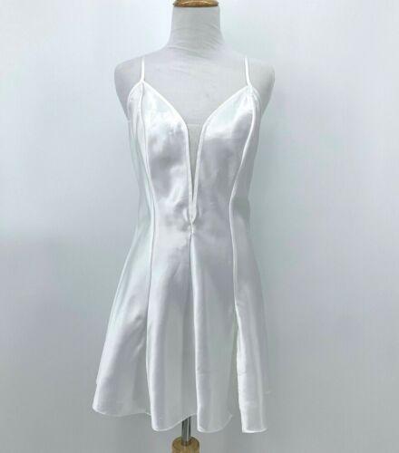 Vintage Victoria Secret Satin White Chemise Size S Gold Label Open Back Lingerie