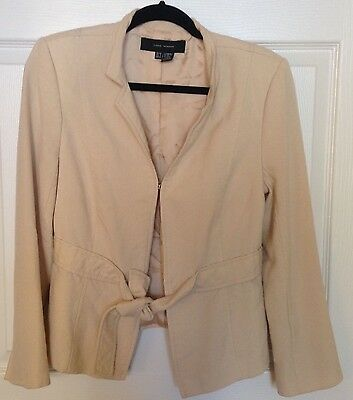 Belted Textured Wool Blend - Zara Woman Wool Blend Belted Beige Jacket Blazer Texture Career Women's Size 8