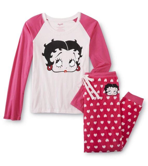 Womens Betty Boop Pajamas Plus Size 1x Cotton Top Fleece Pant 2 ...