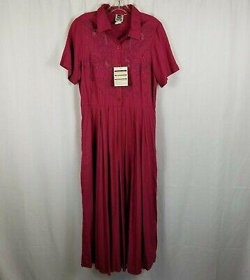 Spiegel Together Short Sleeve Shirt Dress Burgundy Women's Size 10 -