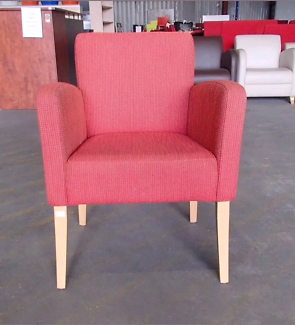 Set of 4 Office Armchair Assorted Red/Orange Pattern Fabric