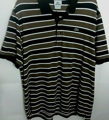 Made in Peru Lacoste Mens Polo Shirt Black Stripe 87651 Size 8 Designed  in FR