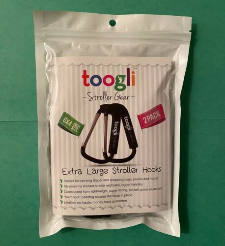 SET of 2 Extra Large Black Stroller Hooks Clips TOOGLI Baby Mommy Carry Bags NEW