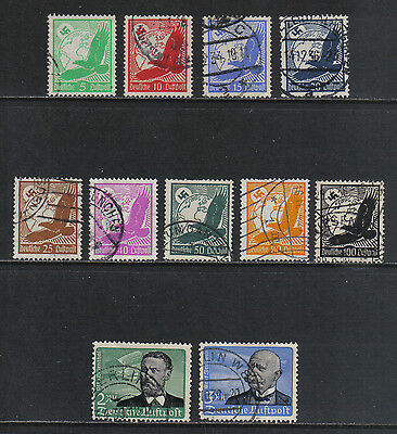 GERMANY 1934 EAGLE/AVIATION PIONEERS AIRMAIL--TOPICAL C46-56 FINE USED