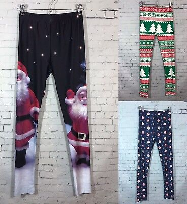 Christmas Leggings Womens S / M L / XL Santa Fair Isle Reindeer Prints NWOT New - Womens Christmas Leggings