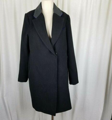Asos Maternity Vegan Wool Asymmetrical Wrap Peacoat Car Coat Womens 8 Black Gray
