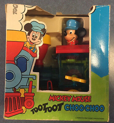 Vintage Disney Mickey Mouse Wind-Up Action Toy Toot Toot Choo Choo Train in Box