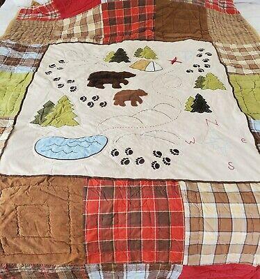 "Woolrich Kids Patchwork Bear Camp Bedspread 60"" wide 84"" long"