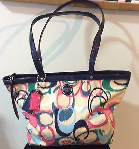 Coach Purse pink blue & white