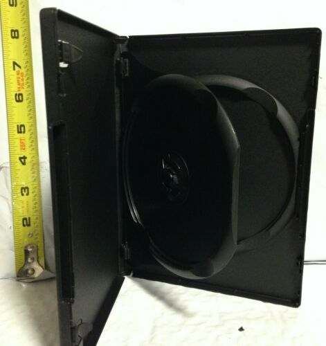 "2 Disc Black Media Case with Tray for DVD/CD/PC, New, 14mm/1/2"",w/ Artwork Clips"