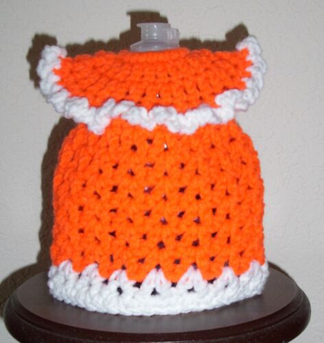 SHORT DRESS DISH SOAP BOTTLE COVER, Crochet, NEW, Orange & White, FREE SHIPPING