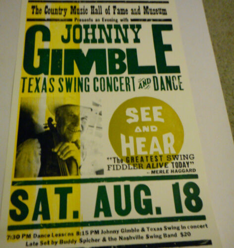 Johnny Gimble Country Hall Of Fame  Texas Swing Concert  Hatch Poster