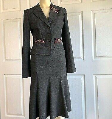 David Meister Sz 4 Womens Skirt Suit Brown Jacket Stripe Bows Embellished USA Embellished Womens Suits