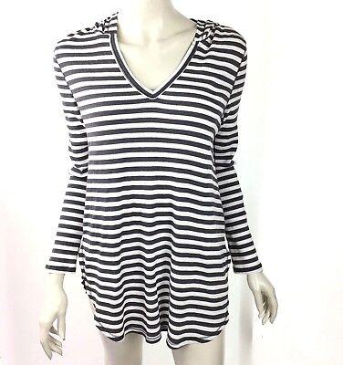 Olivia Sky Gray Striped Long Sleeve Sweat Shirt Hood Long Sleeve Women Small NWT Long Sleeve Striped Sweatshirt