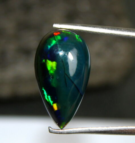 Natural Top Loose Gemstone Black Ethiopian Fire Opal Pear Shape Cab 4.60 Cts X26