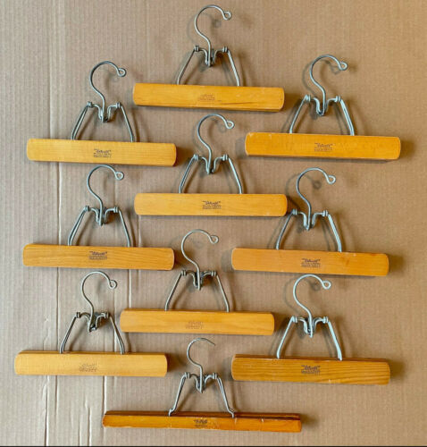 Vintage Lot of 10 Setwell Trouser Clothing Wooden Pants Skirt Clamp Hangers
