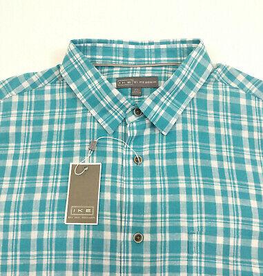 $100 Ike By Ike Behar Men Linen Plaid Shirt Size L XL Long Sleeve
