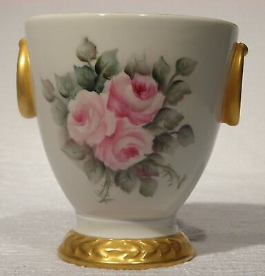 Porcelain Vase Hand Painted Roses with Gold Trim -Made West Germany