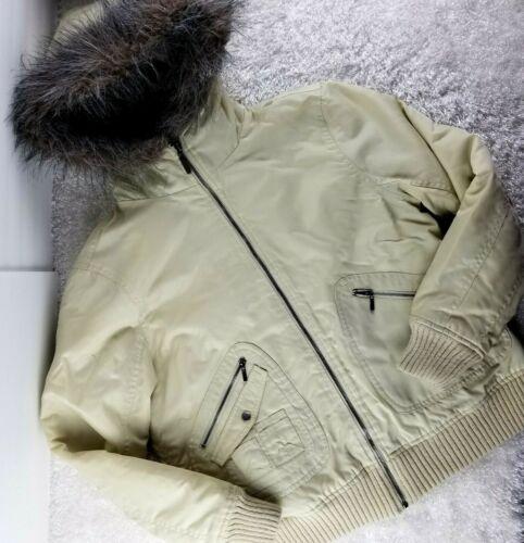 Motherhood Maternity beige winter coat SIZE M faux fur hood satin quilting (I)