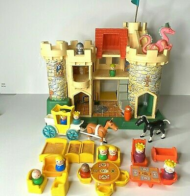 Fisher Price Little People Play Family Castle 993 Pink Dragon Vtg 1974 Extras