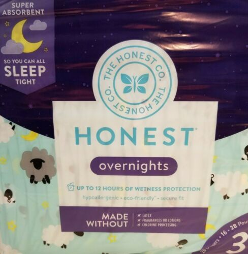 The Honest Company Overnight 26 Absorbent Diapers Size 3 Sleepy Sheep 16-18 lbs