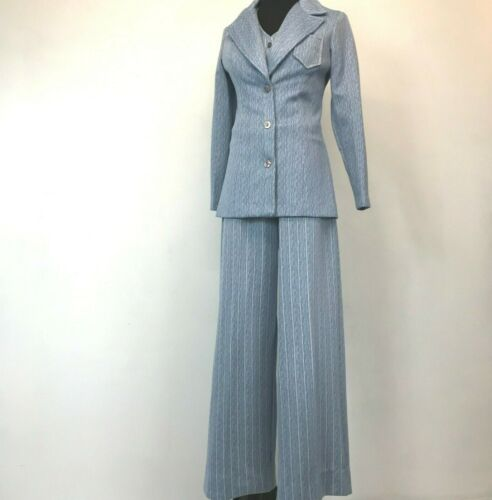 Vintage 1970s Wide Leg Jumpsuit size M Blue Sleeveless Belted with Jacket P6