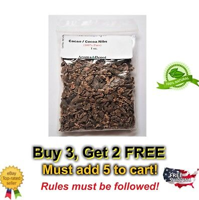 1 oz Raw Cacao / Cocoa Nibs 100% Pure Kosher Raw Chocolate Arriba Nacional Bean Raw Cacao Nibs