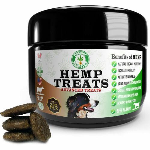 Organic Hemp Dog Treats, Anxiety Relief, Grass-Fed, Beef, 220 Soft Chews