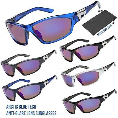 ARCTIC BLUE TECH ANTI GLARE FRAME FISHING HUNTING SKI SPORTS WRAP (Blue Tech Sunglasses)