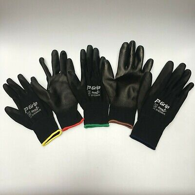12 Pairs Liberty P-grip Work Gloves Black Pu Free Ship Polyurethane Palm 4638bk