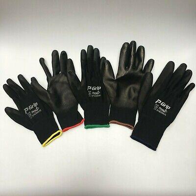 12 Pairs Liberty P-grip Work Gloves Black Pu Free Ship Polyurethane Palm 4638bk
