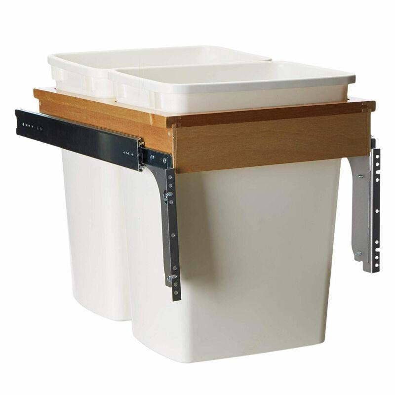 Rev-A-Shelf 4WCTM-18DM2 Double 35-Qt Pullout Waste Container, White (Open Box)