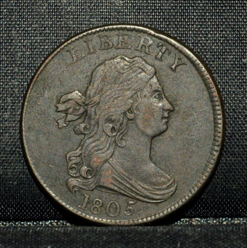 1805 DRAPED BUST HALF-CENT ✪ XF EXTRA FINE DET ✪ 1/2C LARGE 5 W/ STEMS ◢TRUSTED◣