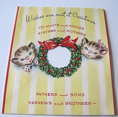 Used Vtg Christmas Card Cute Kittens w Cut Out Holly Wreath to Kitten in Sleigh